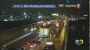 Vine Westbound Ramp To Schuylkill Closed Due To A Jack-Knifed Tractor Trailer